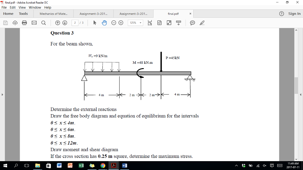 Solved for the beam shown determine the external reactio finalpdf adobe acrobat reader dc file edit view window help home tools assignment ccuart Choice Image
