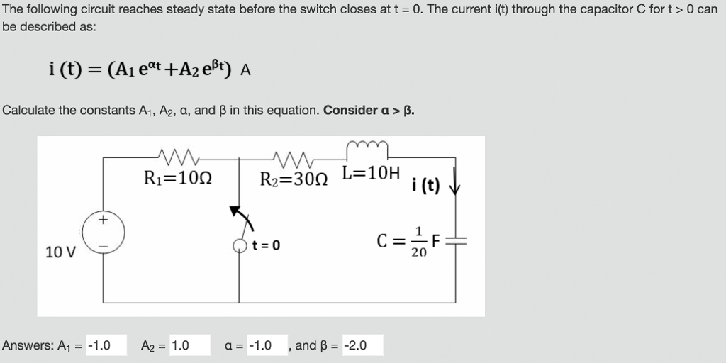 The following circuit reaches steady state before the switch closes at t = O. The current i(t) through the capacitor C for t > 0 can be described as: Calculate the constants A1, A2, a, and β in this equation. Consider a > β. R1=100 | R2=30Ω i (t) V t=0 20 10 V Answers. Al =-1.0 A2= 1.0 a=-1.0 , and β=-2.0