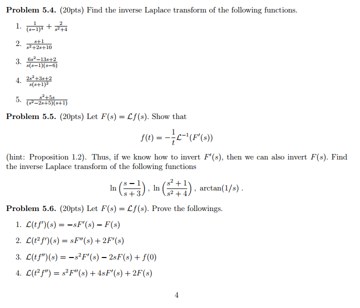 Solved: Find The Inverse Laplace Transform Of The Followin ...