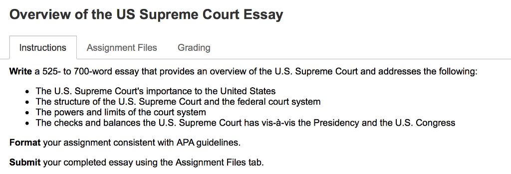 My School Essay In English Overview Of The Us Supreme Court Essay Instructions Assignment Files  Grading Write A  To How To Write A Synthesis Essay also Expository Essay Thesis Statement Overview Of The Us Supreme Court Essay Instruction  Cheggcom Thesis Statements For Essays