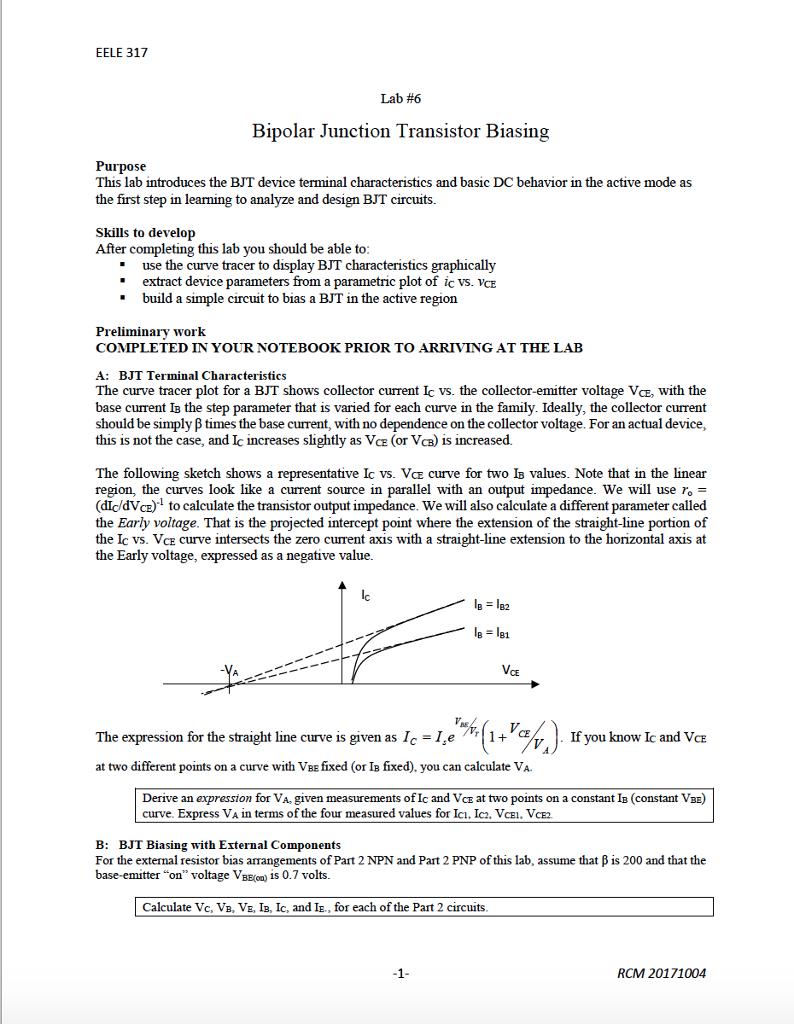 Solved Eele 317 Lab 6 Bipolar Junction Transistor Biasin The Basic Dc Circuit Biasing Purpose This Introduces Bjt Device