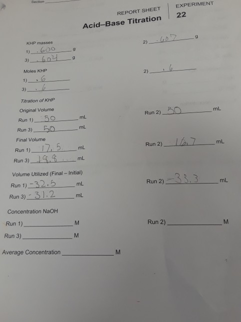 Solved: REPORT SHEET EXPERIMENT Acid-Base Titration 22 KHP