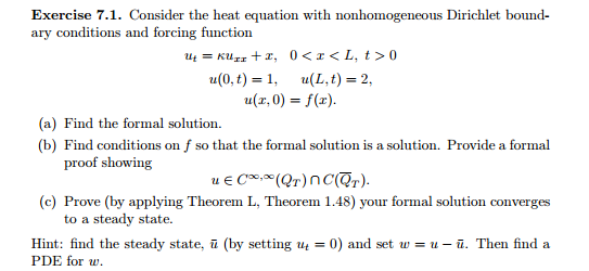 Solved: Consider The Heat Equation With Nonhomogeneous Dir