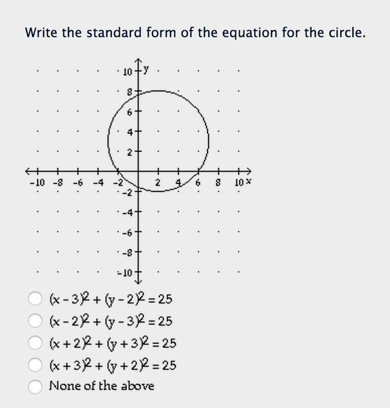 Solved Write The Standard Form Of The Equation For The Ci