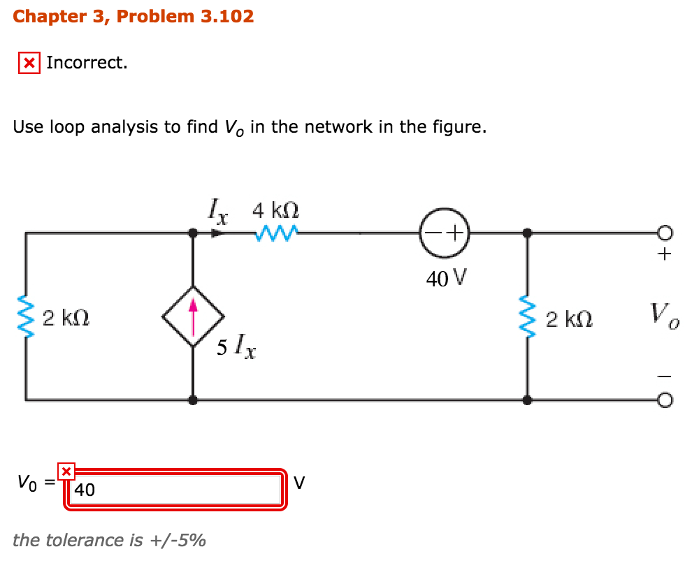 Solved: Chapter 3, Problem 3 102 XIncorrect  Use Loop Anal