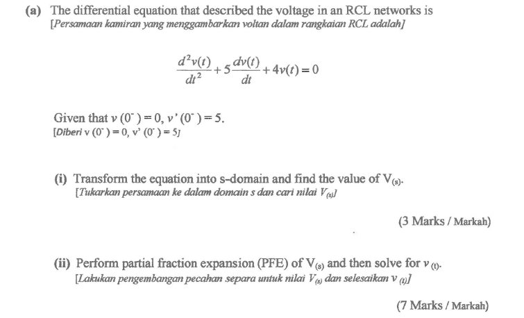 Electrical engineering archive may 31 2017 chegg a the differential equation that described the voltage in an rcl networks is persamaan ccuart Choice Image