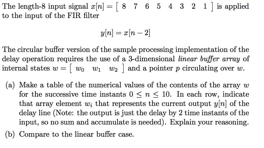 The Length-8 Input Signal A [n]=[ 8 7 6 5 4 3 2 1
