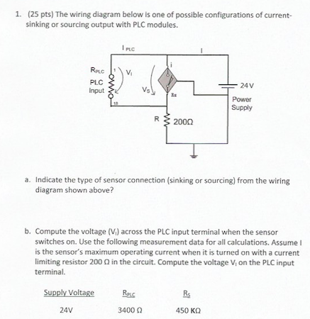 (25 pts) the wiring diagram below is one of possible configurations of  current-sinking or sourcing output with plc modules  a  indicate the type  of sensor