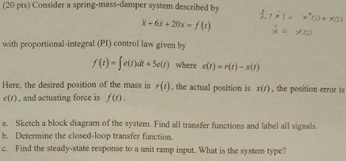 b4fd8b7bdd Solved: (20 Pts) Consider A Spring-mass-damper System Desc ...