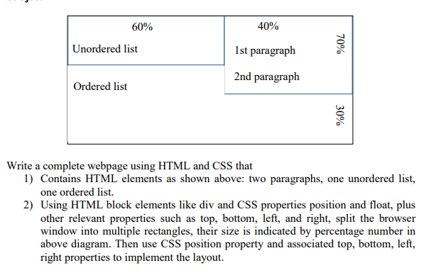 Solved: 40% Ist Paragraph 2nd Paragraph 60% Unordered List