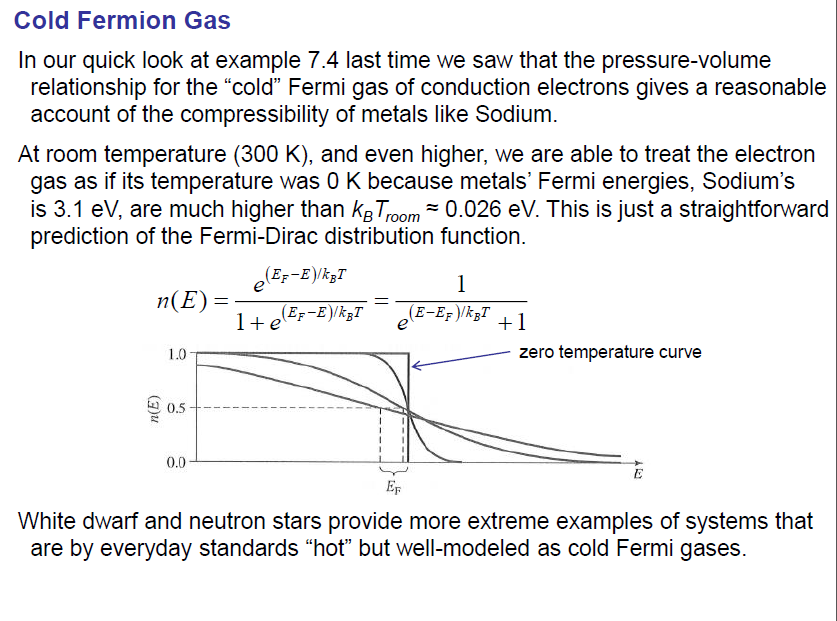 Cold Fermion Gas In Our Quick Look At Example 74 Chegg