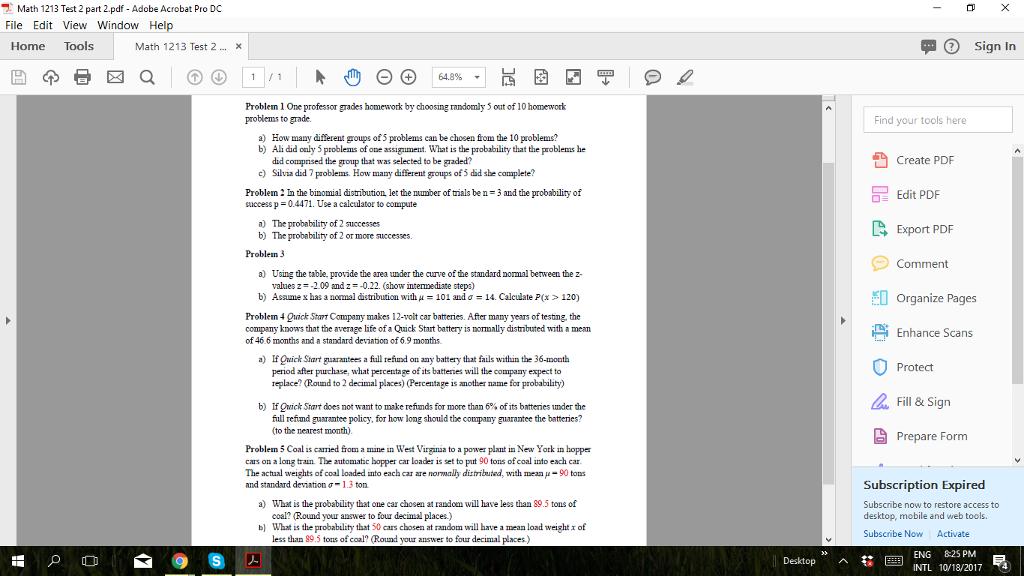 Solved: Math 1213 Test 2 Part 2.pdf. Adobe Acrobat Pro DC ...