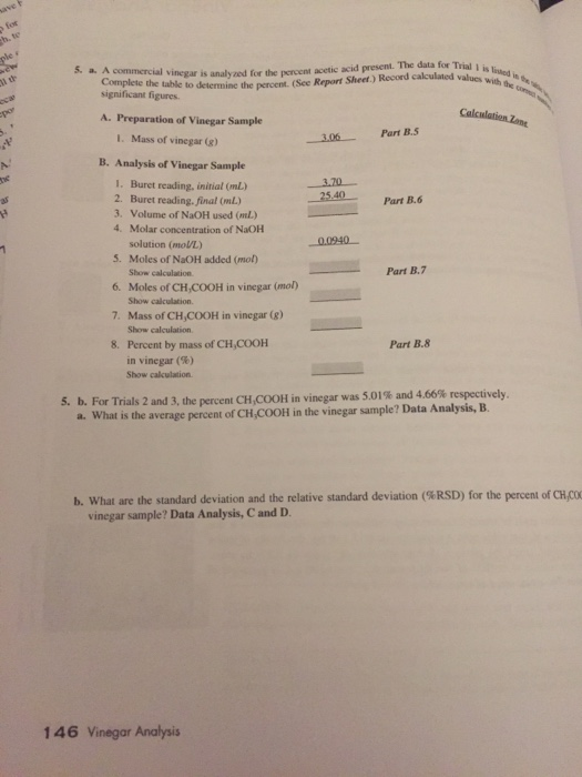Solved: Experiment 10 Prelaboratory Assignment Vinegar Ana