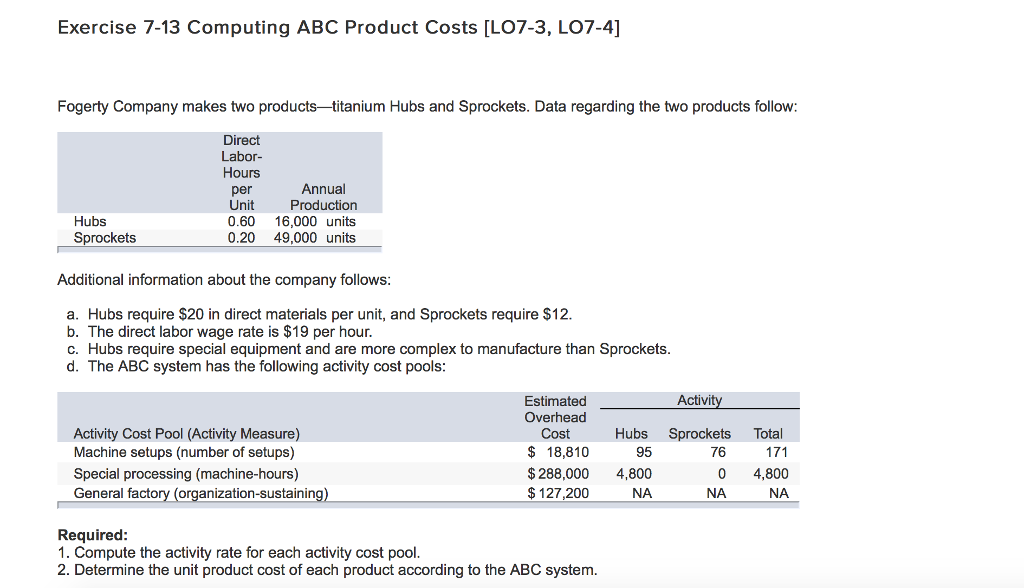 Exercise 7 13 Computing ABC Product Costs [LO7 3, LO7 4