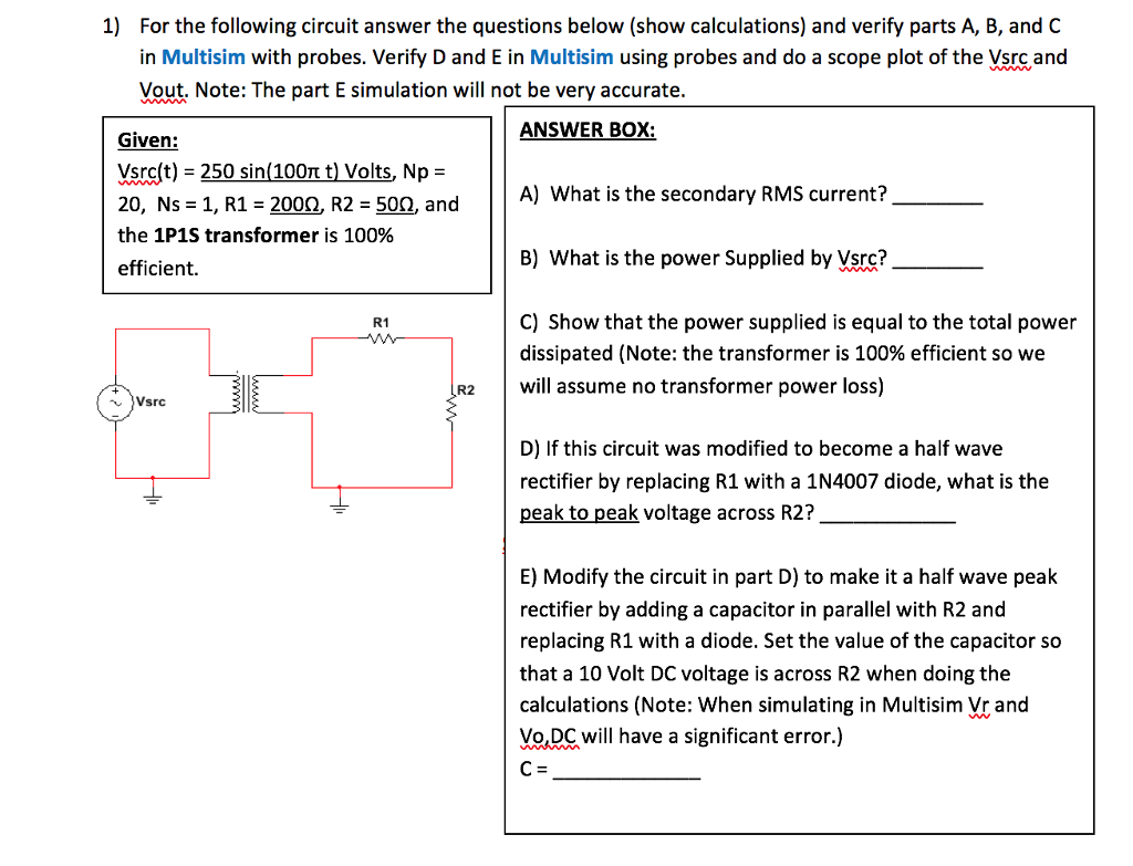 solved 1 for the following circuit answer the questions rh chegg com