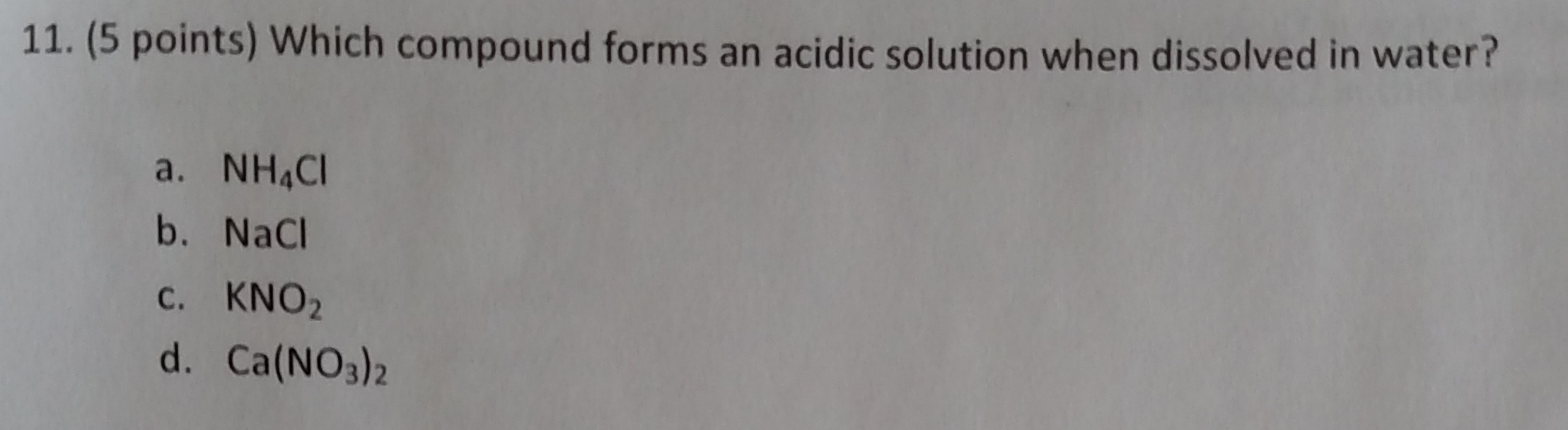 Solved: Which Compound Forms An Acidic Solution When Disso