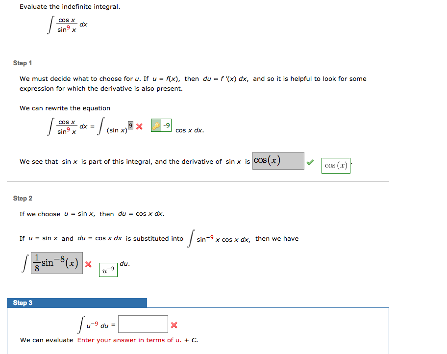 solved evaluate the indefinite integral cos x dx sin ste