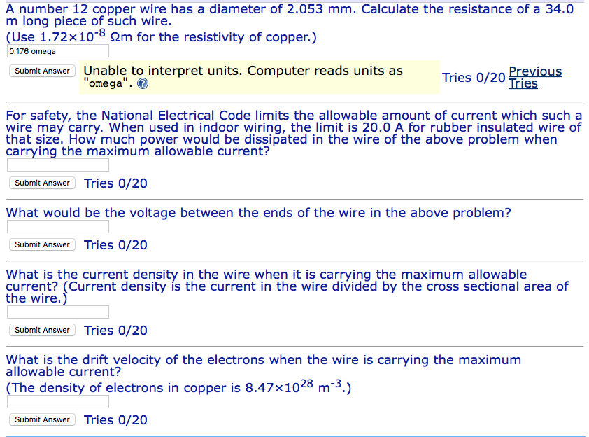 Solved: A Number 12 Copper Wire Has A Diameter Of 2.053 Mm ...