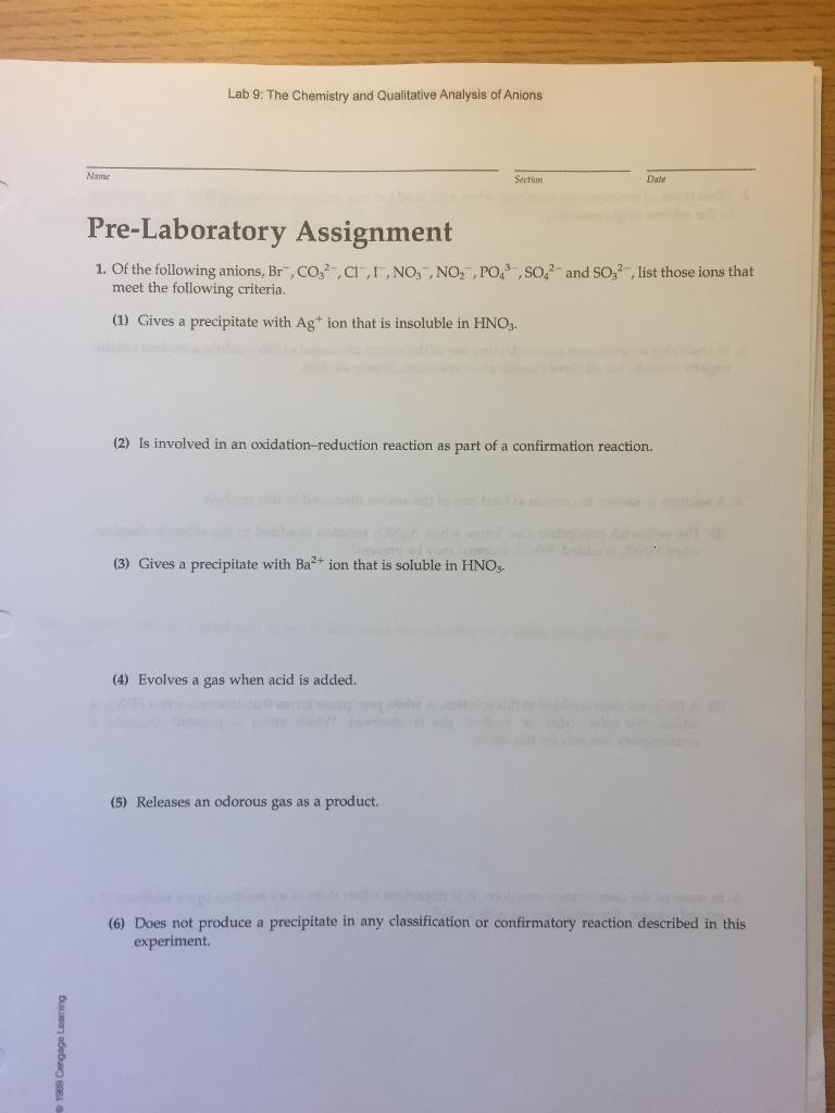 Lab 9 The Chemistry And Qualitative Analysis Of Chegg Com