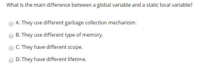 Solved: What Is The Main Difference Between A Global Varia