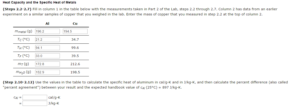 Heat Capacity And The Specific Heat Of Metals Fill Chegg