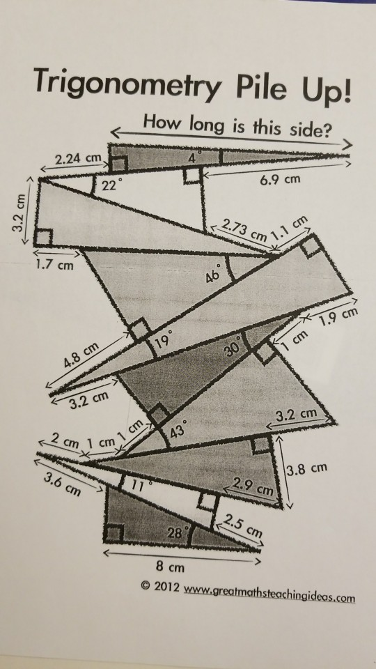 Solved: Trigonometry Pile Up! How Long Is This Side? 4 2.2 ...
