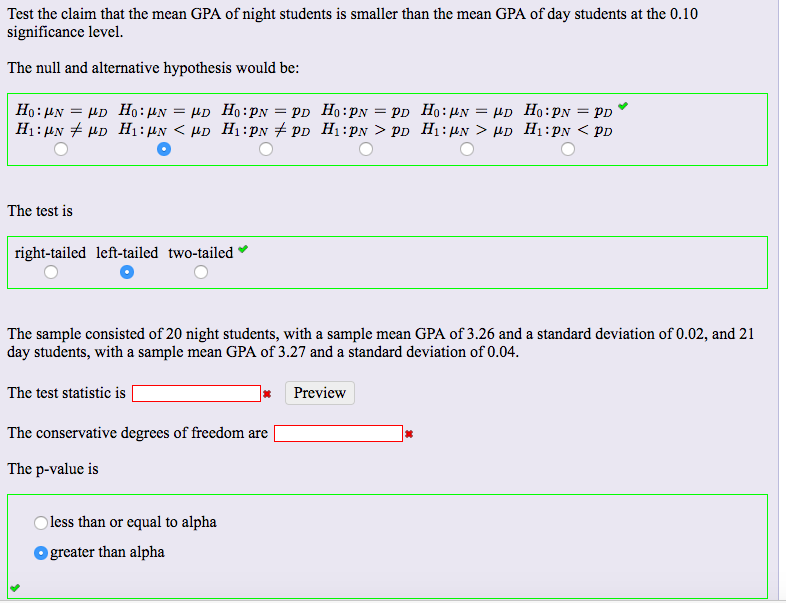 Solved Test The Claim That The Mean Gpa Of Night Students