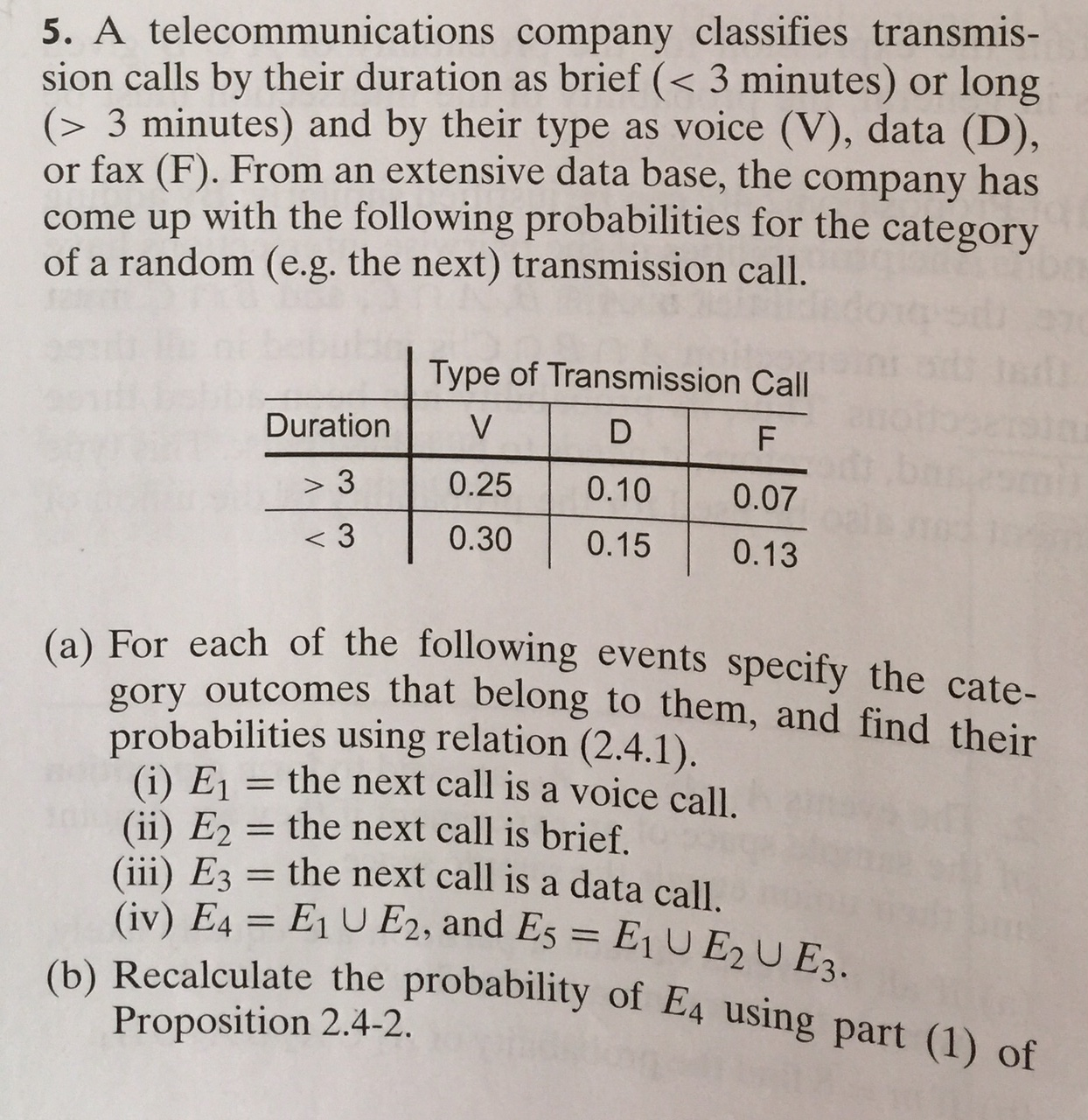 Solved: A Telecommunications Company Classifies Transmissi ...