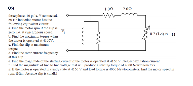 Solved Three Phase 10 Pole Y Connected 60 Hz Induction Chegg Com