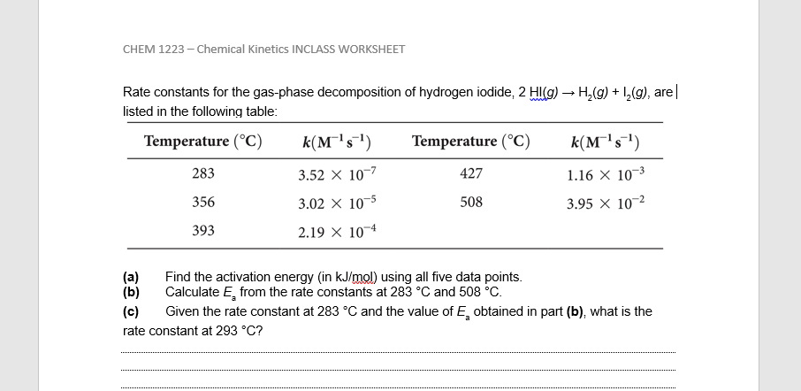 Solved: CHEM 1223-Chemical Kinetics INCLASS WORKSHEET Rate ...