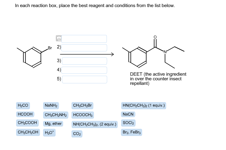 in each reaction box place the best reagent and conditions from the list below oh-#37