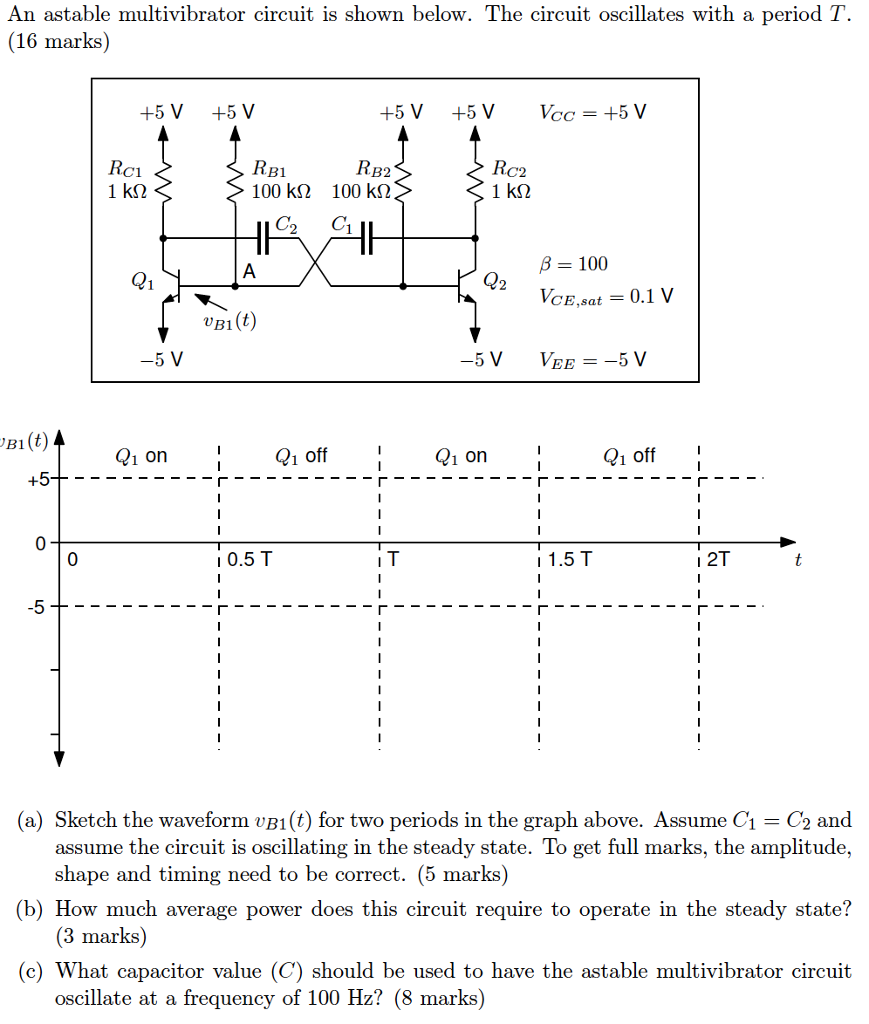 Solved An Astable Multivibrator Circuit Is Shown Below T Monostable The Oscillates With A Period