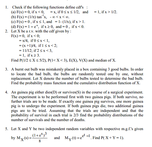 Solved: Probability And Statistics, PDF And CDF Help : Che