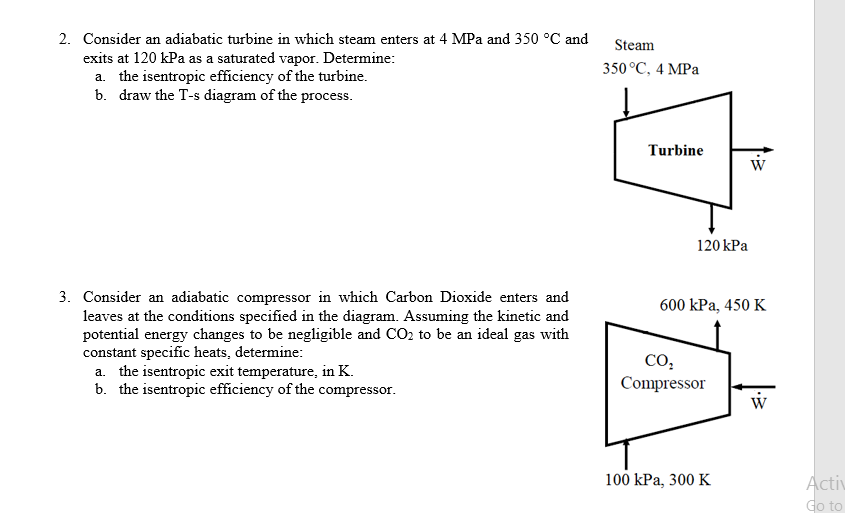 Solved 2 Consider An Adiabatic Turbine In Which Steam En