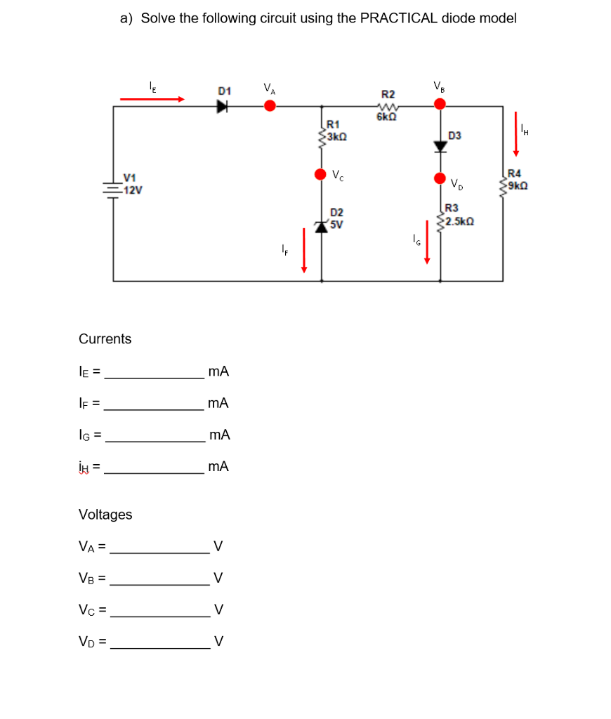 Solved Solve The Following Circuit Using Practical Di 12v Diode Wiring Diagram Question Model
