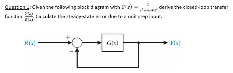 given the ofllowing block diagram with g(s) =1/s^2