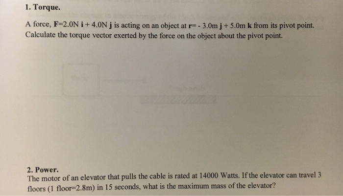 Solved: Torque Problem For Physics Please Help With Calcul