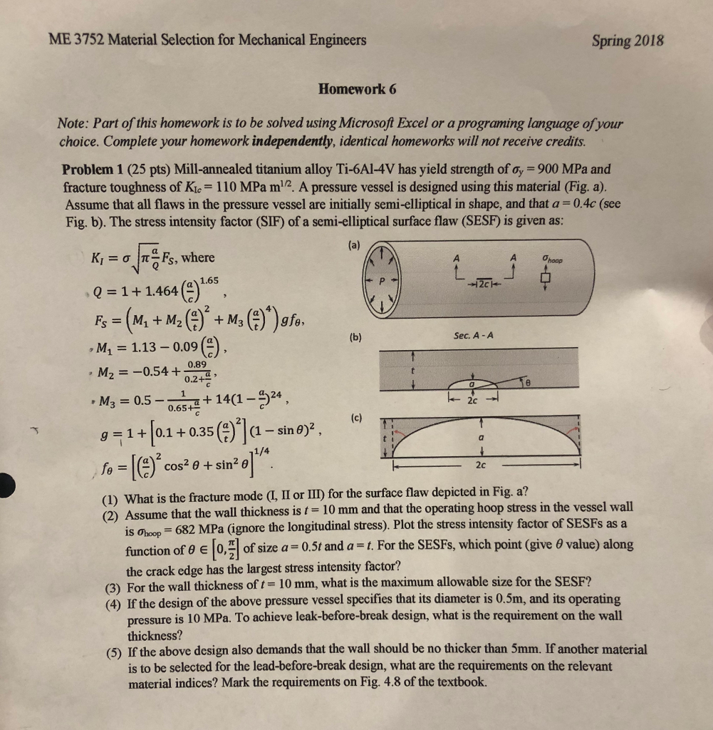 Solved: ME 3752 Material Selection For Mechanical Engineer