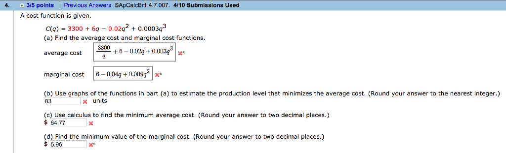 minimum average cost calculus