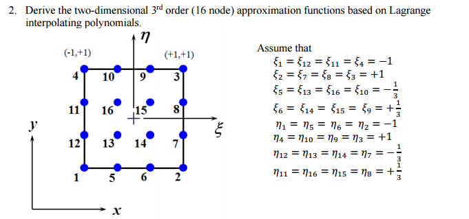 2. Derive the two-dimensional 3rd order (6 node) approximation functions based on Lagrange interpolating polynomials. Assume that 51 12 11 10 90 S13 $16 S10 $14 $15 11 16 15 ns n2 +1 ng 12 13 14 7 n12 n14 17 13 n11 n16 n15 5 6 2