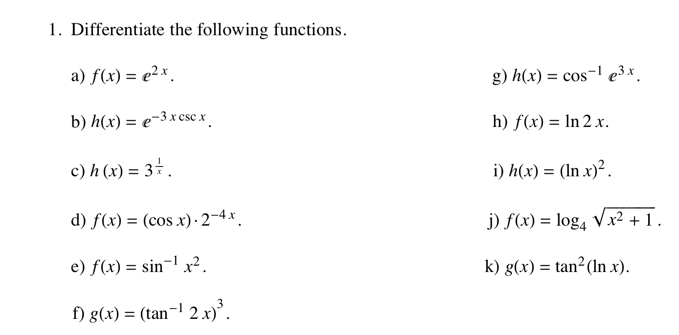 F X H F X H Calculus: Solved: 1. Differentiate The Following Functions. A) F(x