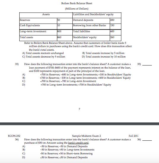 Solved: Boilers Bank Balance Sheet Millions Of Dollars) Li ...