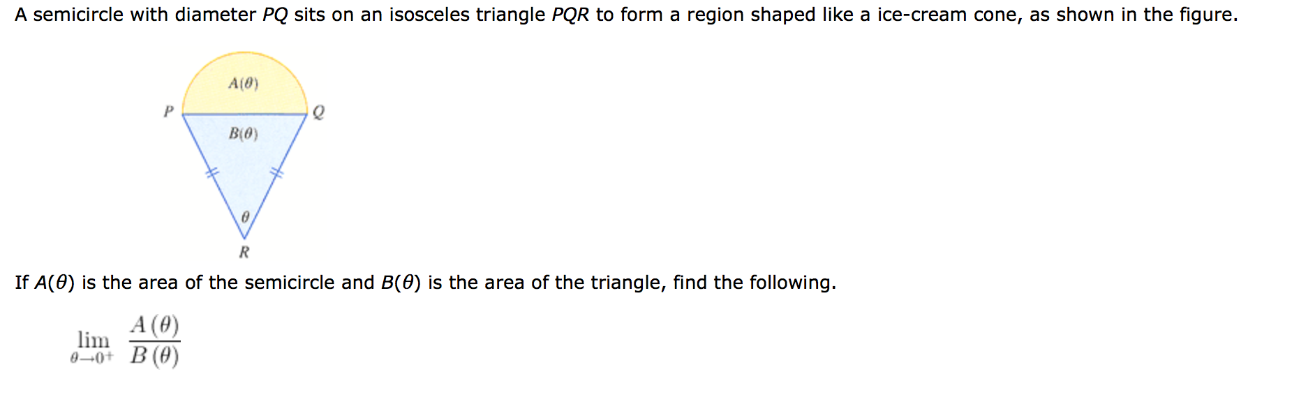 Image For A Semicircle With Diameter Pq Sits On An Isosceles Triangle Pqr  To Form A