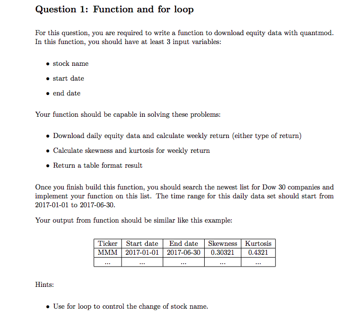 Solved: Question 1: Function And For Loop For This Questio