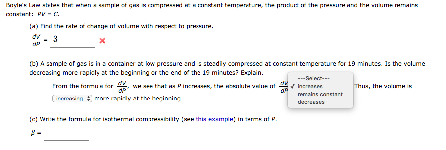 Solved Boyles Law States That When A Sample Of Gas Is Co