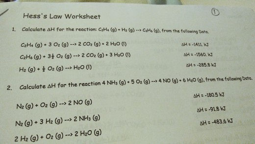 Solved: Hess's Law Worksheet Calculate ΔH For The Reaction ...