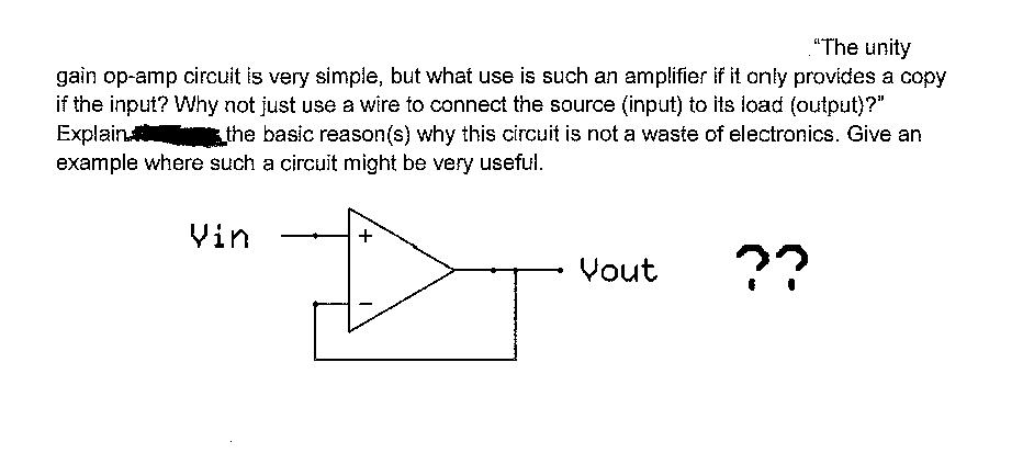 Solved: The Unity Gain Op-amp Circuit Is Very Simple, But ...