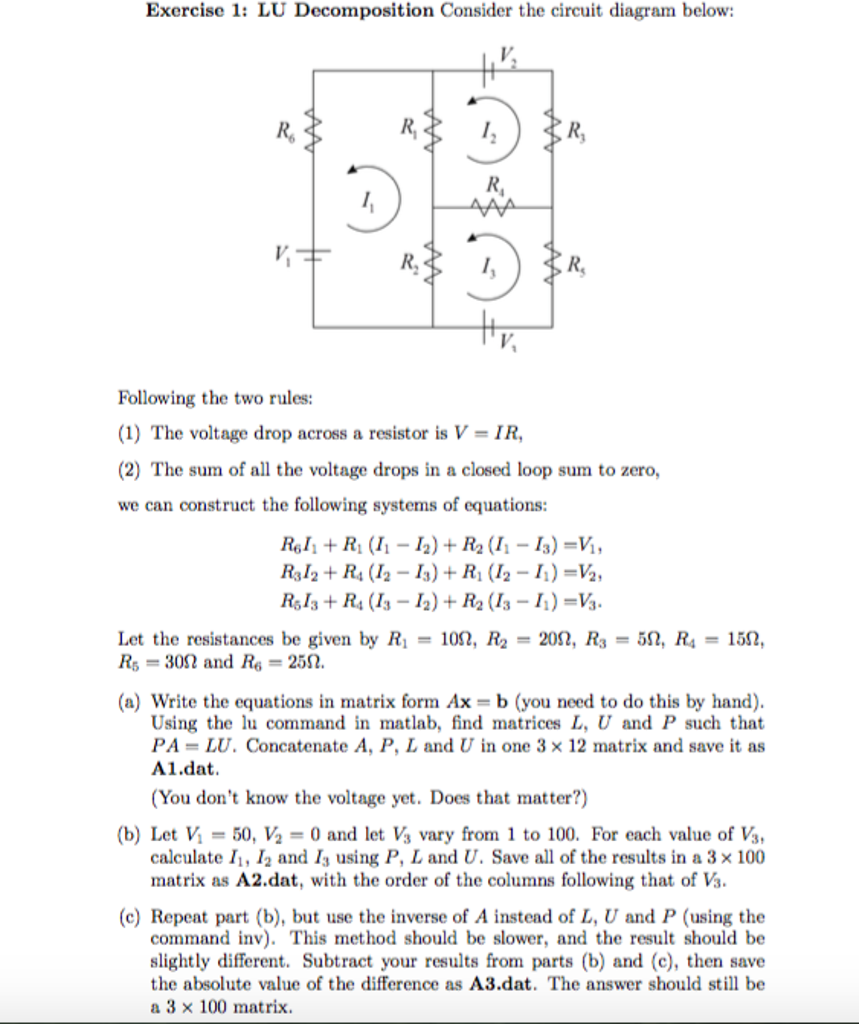 Lu Decomposition Consider The Circuit Diagram Belo Rules