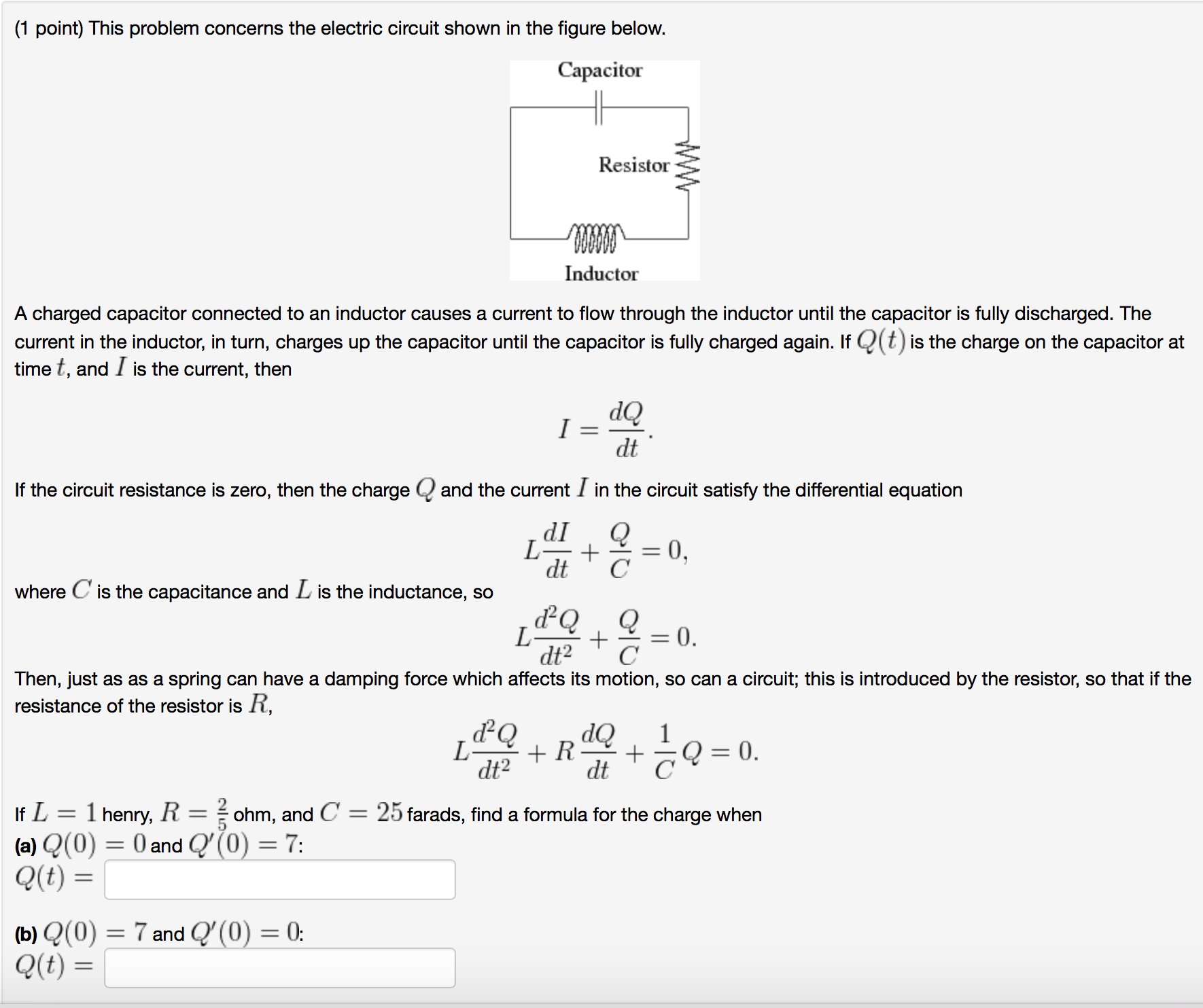 Solved 1 Point This Problem Concerns The Electric Circu Electrical Circuit Capacitor 2 Image For Shown In Figure