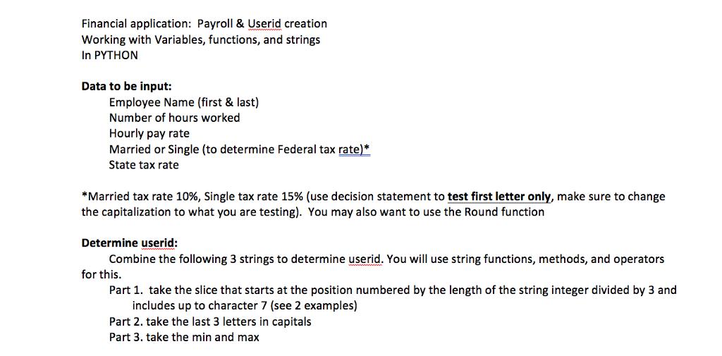 Financial Application: Payroll& Userid Creation Wo